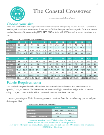 The Coastal Crossover Size Chart and Fabric Requirements