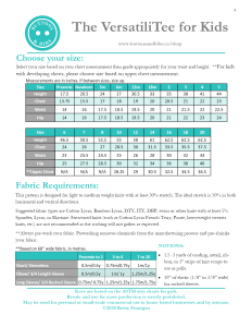 The VersatiliTee for Kids Size Chart and Fabric Requirements