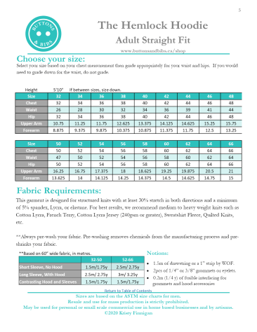 The Hemlock Hoodie - Straight Fit Size Chart and Requirements