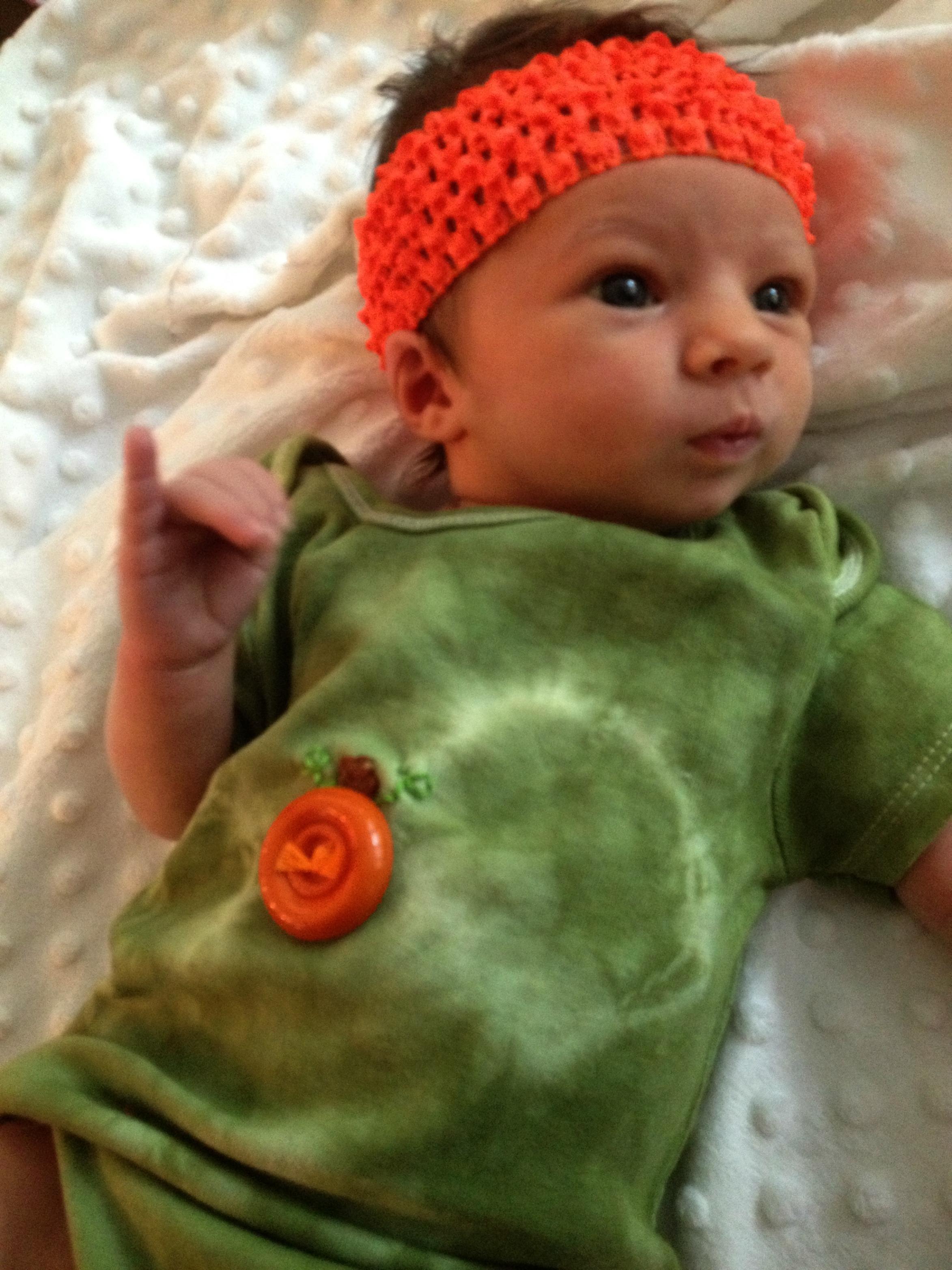 button pumpkin onesie - baby's first halloween
