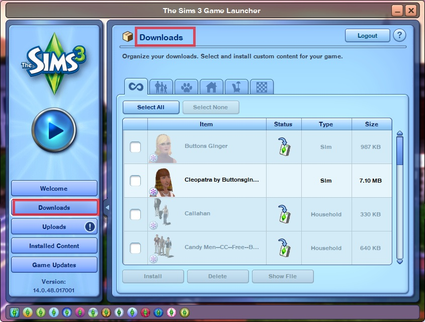 Add To Game Option vs Save File when downloading from the Sims 3 exchange (1/4)