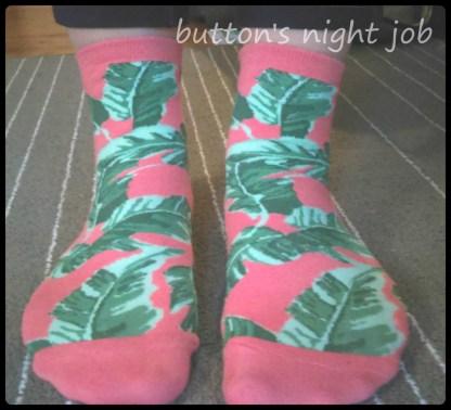 Socks, green palm trees