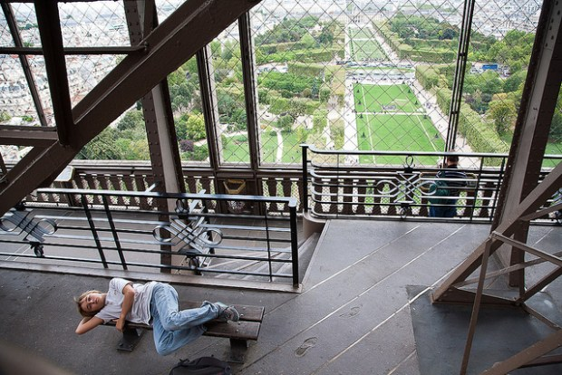 "A view from the Eiffel Tower's second floor - ""resting @ the eiffel tower"" photo by Flickr user looking4poetry"