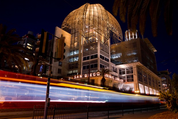 """Trolley going in front of the new San Diego Central Library"" by Flickr user Nathan Rupert"