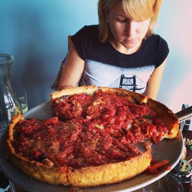 """""""Deep dish pizza so gooood."""" image via Flickr user Dennis M"""
