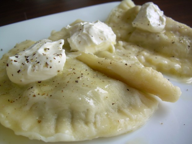 """pierogies"" image by Flickr user di.wineanddine"
