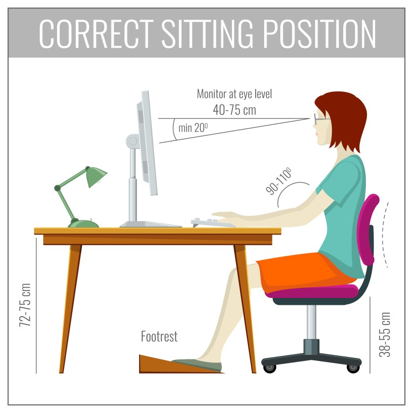 Person sitting in ergonomically correct position