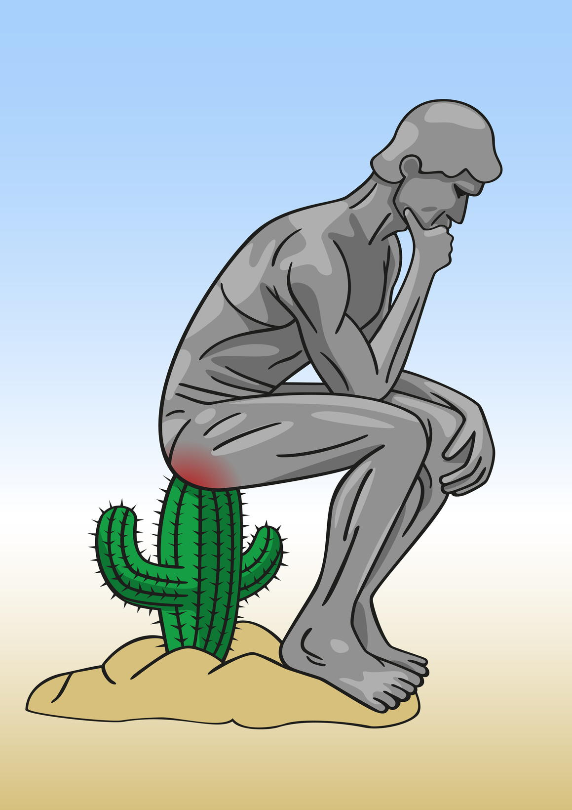 Thinking man pose sitting on cactus
