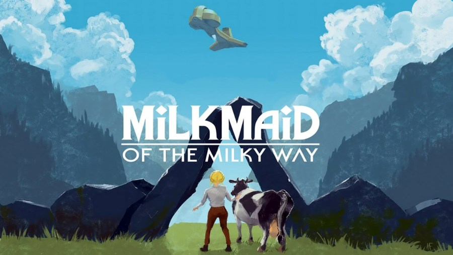 Milkmaid of the Milky Way, showing Ruth and her cow underneath an alien ship.