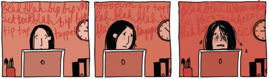 Marguerite sits in front of her computer as the writing across the top of the panels describes the noises she is hearing. These noises are causing her to become more overwhelmed.