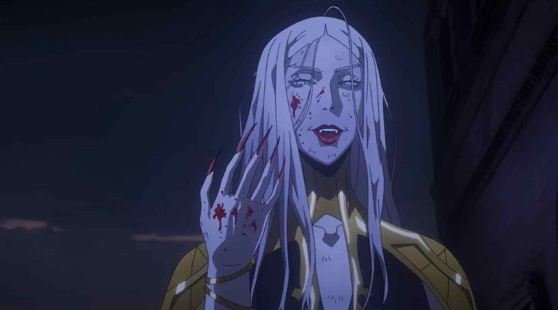 Carmilla in Castlevania season 2 after beating Hector to a pulp covered in his blood.