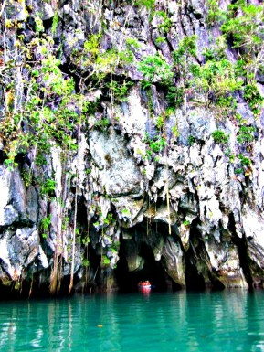 about to enter one of the natural wonders of the world, the underground cave in Puerto Prinsesa, Palawan, Philippines
