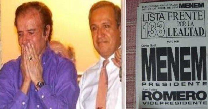 El día que Romero acompañó a Menem en las presidenciales contra Kirchner