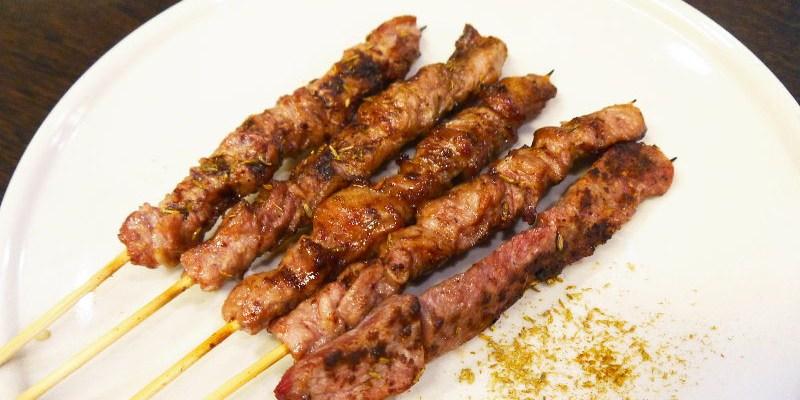 維吾爾新疆碳烤,食材無特別醃過,灑上獨特香料吃的到食材的原味。(台中燒烤/台中居酒屋/台中新疆炭烤/試吃)