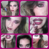 So i wanted to do a sultry makeup look to match my gorgeous new nails, deep pink smokey eyes and sparkling red glitter lips