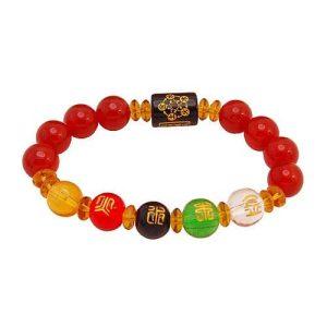 10mm Red Agate 5 Elements Balancing Bracelet