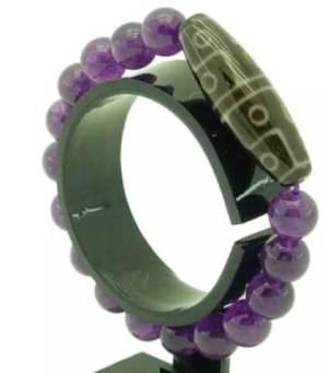12 Eyed Dzi with 10mm Amethyst Quartz Bracelet