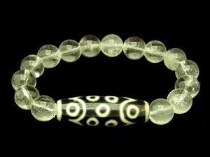 15 Eyes Dzi Bead with 10mm Smooth Clear Quartz Bracelet1