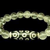 15 Eyes Dzi Bead with 10mm Smooth Clear Quartz Bracelet1