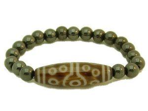 15 Eyes Dzi Bead with 8mm Hematite Bracelet