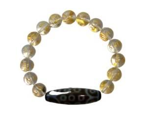 21 Eyes Dzi Bead with 10mm Faceted Clear Quartz Bracelet