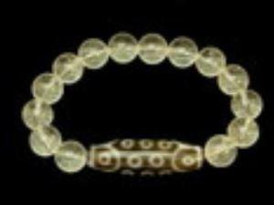 21 Eyes Dzi Bead with 10mm Smooth Clear Quartz Bracelet