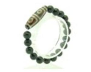 4-Eyed Dzi with 10mm Rainbow Obsidian Bracelet