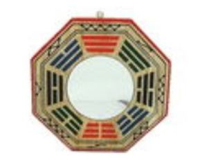 4 Inch Peach Wood Concave Early Heaven Bagua Mirror