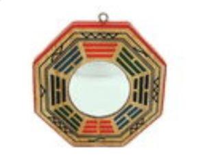 4 Inch Peach Wood Convex Early Heaven Bagua Mirror