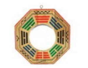 6 Inch Peach Wood Convex Early Heaven Pakua Mirror