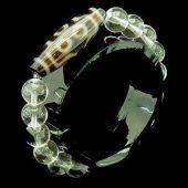 7 Eyes Dzi Bead with 10mm Clear Quartz Bracelet1