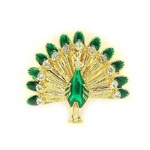 Bejeweled Peacock with Spread Tail Brooch1