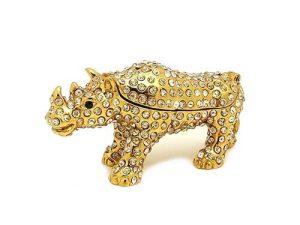 Bejeweled Wish Fulfilling Double Horn Rhinoceros Jewelry Box1