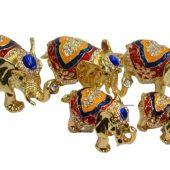 Bejeweled Wish-Fulfilling Family of Elephant