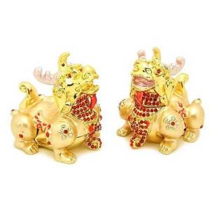 Bejeweled Wish-Fulfilling Feng Shui Fortune Pi Yao (Pair)1