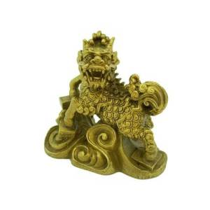 Brass Chi Lin with Four Scholastic Objects1