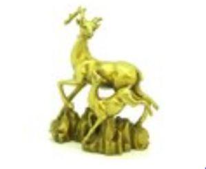 Brass Happy Fengshui Deer and Baby