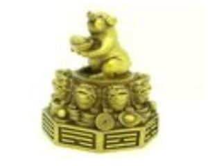Brass Pig Holding Gold Ingot on Pakua with 8 Money Frogs