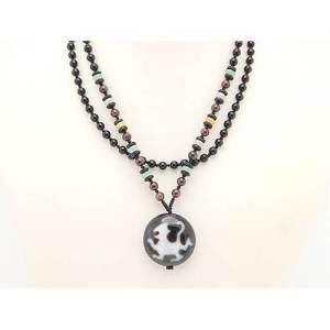 Chi Lin Dzi Bead Pendant with Onyx Necklace1