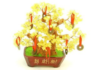 Citrine Crystal With 9 Coins Wealth Inviting Money Tree1