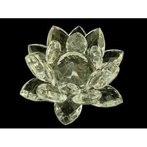 Clear Crystal Lotus Blossom Flower - 40mm Diameter1