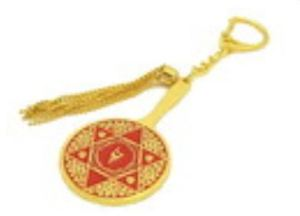 Double Pyramid Red Goddess Mirror Amulet