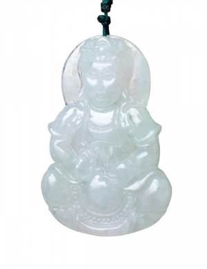 Goddess of Mercy (Kwan Yin) Jade Pendant with Chain Necklace