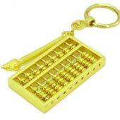Golden Abacus with Brush Feng Shui Keychain