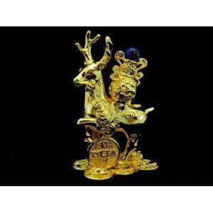 Golden Good Fortune Deer with Wealth Vase1