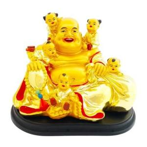 Golden Laughing Buddha with 5 Adorable Infants