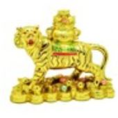 Golden Tiger with Wealth Pot and Treasures