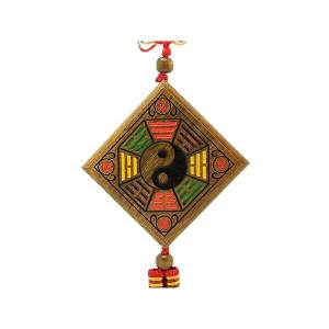 Green Sandalwood Bagua Mirror & Yin Yang Symbol Hanging1