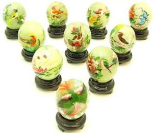 Jade Eggs with Painting of Birds & Flowers (Set of 10 Pcs)