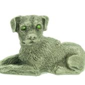 Lucky Pewter Dog With Sparkling Light Green Eyes1